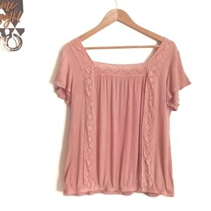 Torrid Pink Lace and Gauze Top
